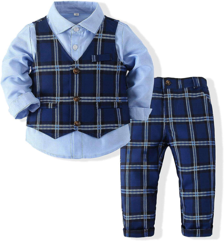 Boys' Plaid Button Down Polyester Casual Dress Shirt Slim Fit +Vest+Pant Outfits