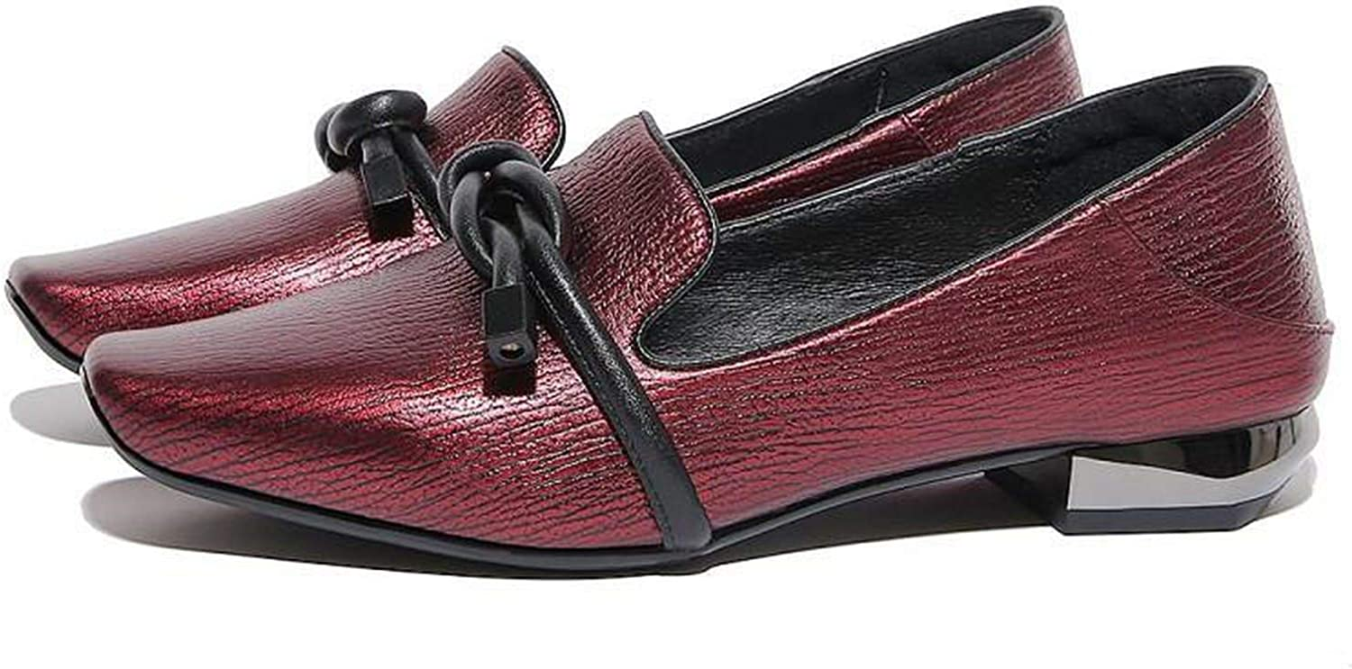 Fly-consciousness Spring Low shoes TPR (Beef Tendon) Set of Solid color Bow First Layer Pigskin