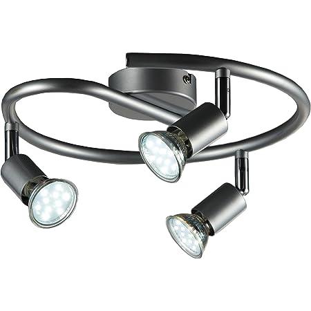 B.K.Licht plafonnier 3 spots pivotants, ampoules LED GU10 fournis, lampe moderne, éclairage intérieur, lumière blanche chaude, chambre salon cuisine salle à manger, 3x3W