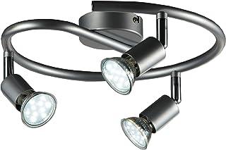 B.K.Licht - Lámpara de techo con 3 focos LED GU10, focos ajustables y giratorios para interiores, de luz blanca cálida , 3...