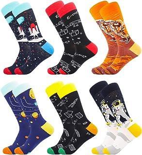 BONANGEL Calcetines Estampados Hombre, Hombres Ocasionales Calcetines Divertidos Impresos de Algodón de Pintura Famosa de ...