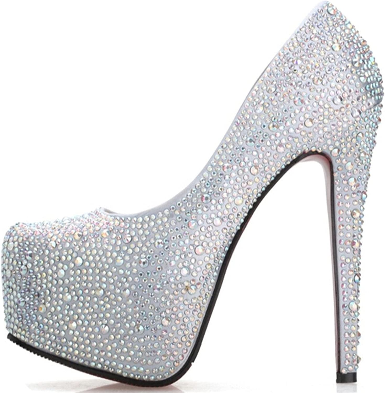 Garyline Womens Six Inch Stiletto Crystal Platform Pumps High Dress Pump Bridal shoes Silver