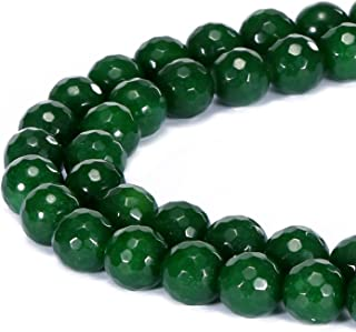 BRCbeads Gorgeous Natural Emerald Jade Gemstone Faceted Round Loose Beads 8mm Approxi 15.5 inch 45pcs 1 Strand per Bag for Jewelry Making