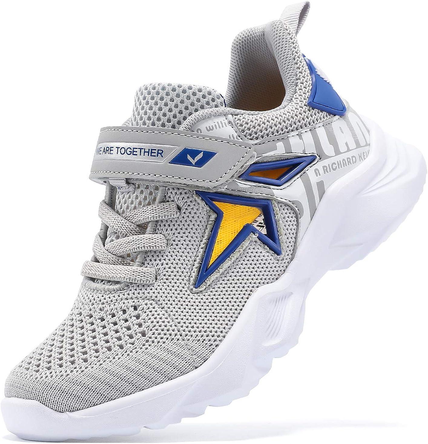 JMFCHI FASHION Boys Running Shoes Kids Sneakers Girls Athletic Tennis Shoe Breathable Lightweight Slip on Sports Knit Sock Sneaker