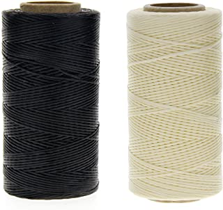 JUANYA 260m 150D 1 mm Leather Sewing Waxed Thread Cord for DIY Craft, Black and Beige