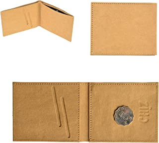Minimalist Slim Travel Bifold Kraft Paper Wallet with Coin Pocket for Men Women