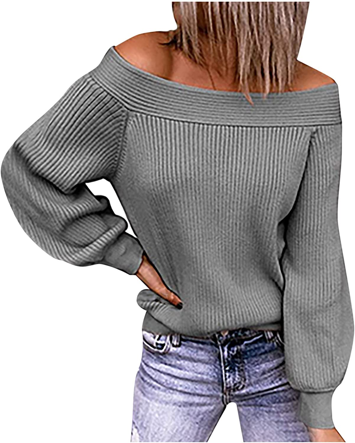 Sexy Cold Shoulder T-Shirts for Women Fall Long Sleeve Loose Solid Color Pullover Fashion Causal Shirt Sweater Tops