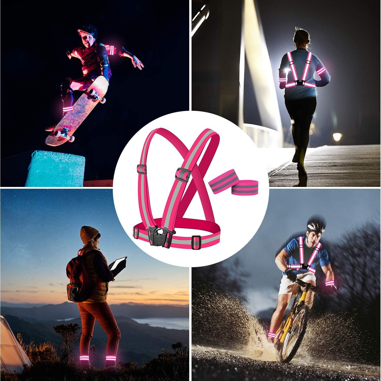Le Jogging La Moto TOLOVIC Gilet et Bracelet R/éfl/échissants de V/éLo Gilets R/éfl/échissants Bracelet R/éFlecteur R/éGlable Et /éLastique pour La Course