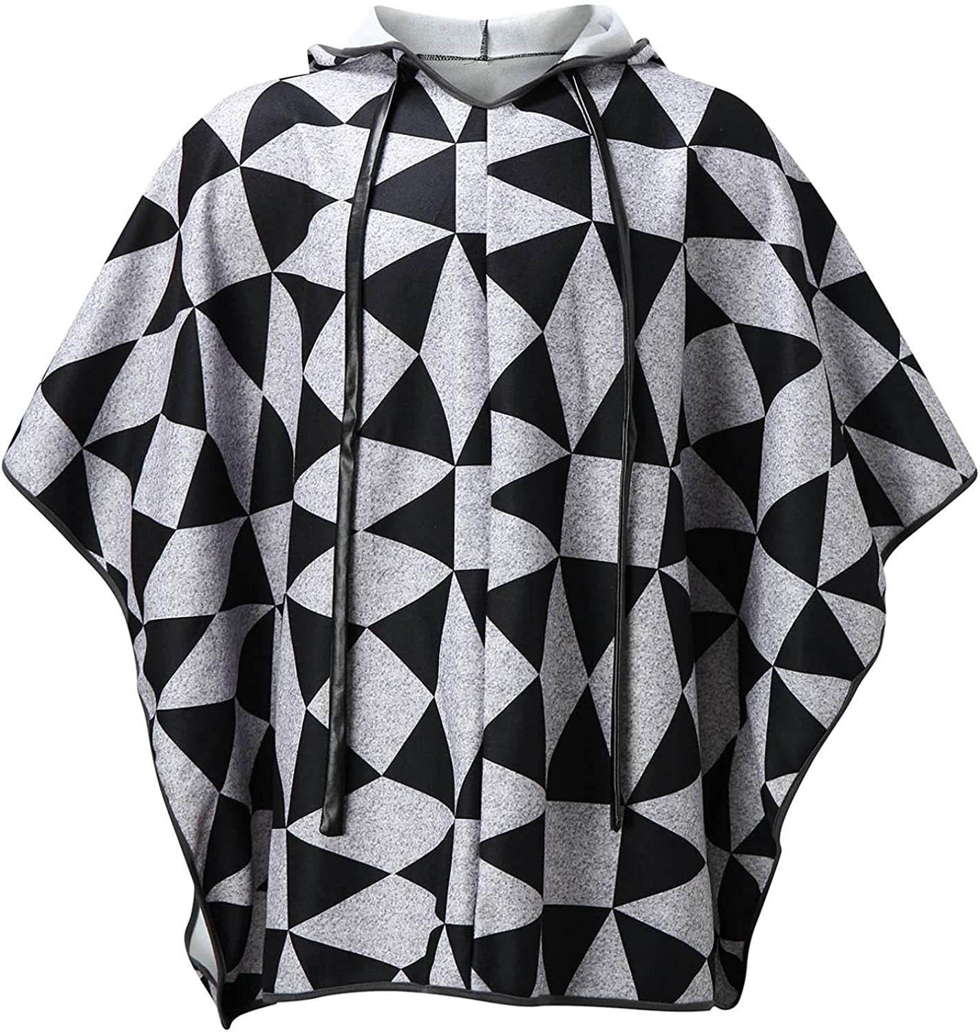 Poncho for Men Plaid Comfortable Home Clothes for Men House Coat Sweatshirts Long Wool Alpaca Poncho Hooded