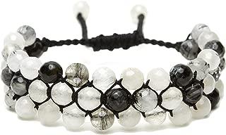 Lulu Dharma Beaded Wrap Bracelet, Semi-Precious Crystal Bead Gemstone Cuff Bracelet, Natural Stone Jewelry - MSRP $68