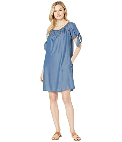 Tommy Bahama Chambray Over the Shoulder Dress w/ Pockets (Chambray) Women