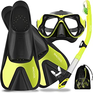 WACOOL Snorkeling Package Set for Adults Full Foot Pocket Fins Anti-Fog Coated Glass Diving Mask Snorkel with Silicon Mout...