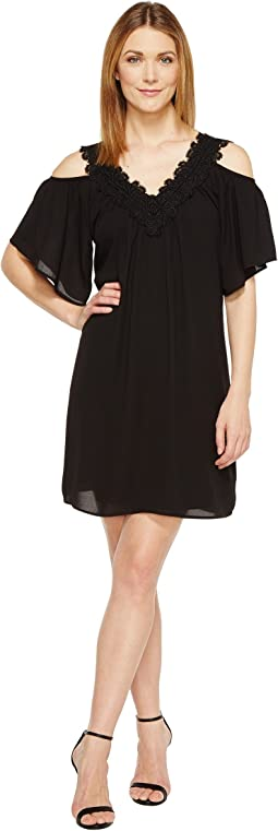 Neck Trim Cold Shoulder Dress