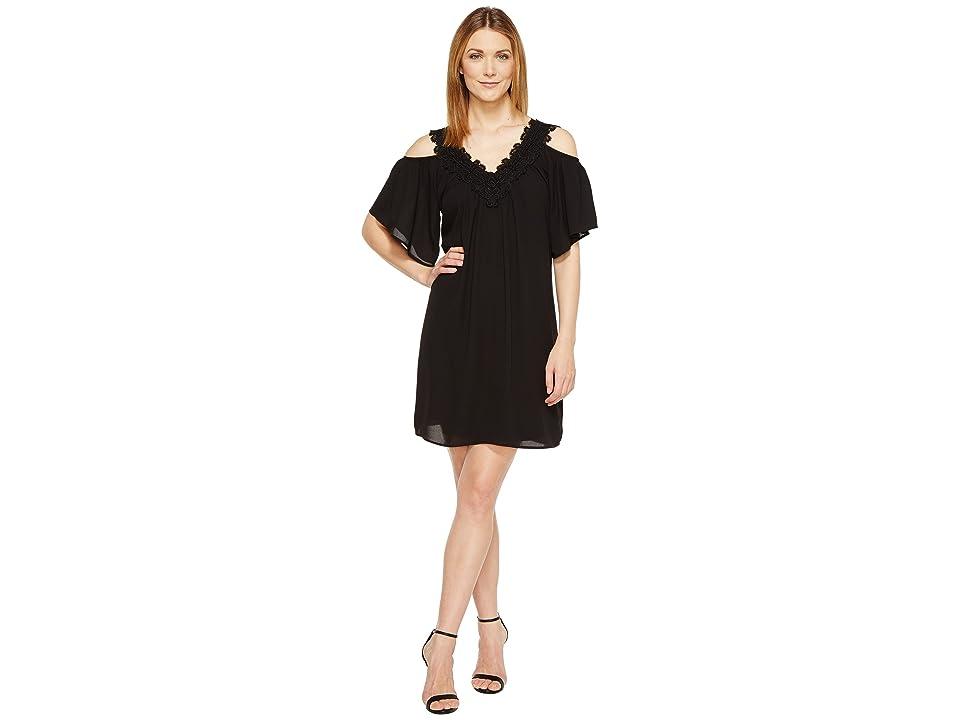 Karen Kane Neck Trim Cold Shoulder Dress (Black) Women