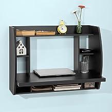 Haotian FWT18-SCH,Black Drop-Leaf Table Desk, Wood Children Table,Home Office Table Desk Workstation Computer Desk with St...