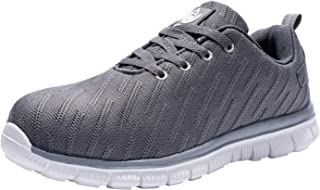 LARNMERN Mens Safety Steel Toe Cap Work Shoes Anti-Puncture Breathable Mesh Reflective Indestructible Boots Slip Resistance Lightweight(10 Gray Net)