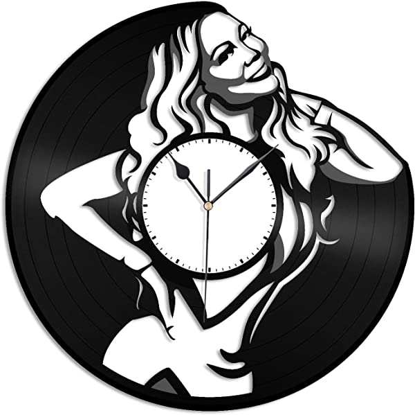 VinylShopUS Mariah Carey Vinyl Wall Clock Music Bands Musicians Themed Travel Souvenir Home Decoration