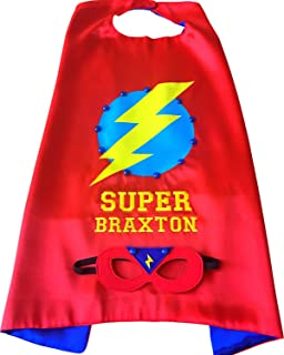 Thimbleful Threads Personalized Lightning Bolt Superhero Cape and Mask Set by