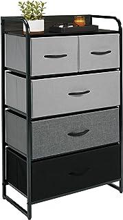 mDesign Commode à 5 tiroirs – Haut Meuble à tiroirs pour la Chambre à Coucher, Le Salon ou Le Couloir – Rangement vêtement...