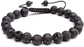 Lava Rock Agate Onyx Tiger Eye Stone Gemstone Bead Healing Power Bracelet W/Adjustable Braided Macrame Tassels