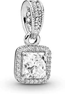 PANDORA - Square Sparkle Halo Pendant in Sterling Silver with Clear Cubic Zirconia