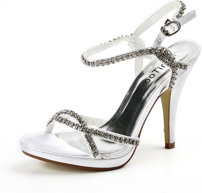 TDA TH12055 Womens 4.5 Inches Heel Satin Rhinestone Evening Parting Bridal Wedding Dress Stappy Sandals
