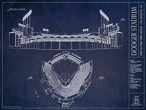 "Dodger Stadium Blueprint Style Print (Unframed, 18"" x 24"")"