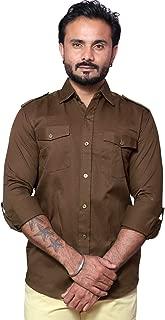 REBANTA Dark Brown Casual Plain Shirt for Men Double Pocket
