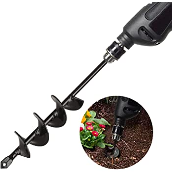 Auger Drill Bit for planting 4*22cm/Spiral Hole Drill Rapid Digger Garden Planter Bedding Saplings Flower Plants for Most 10mm Hex Drive Drill
