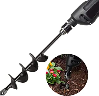 Auger Drill Bit 1.8'' x 14.5'', Garden Plant Flower Bulb Bedding Planter Auger Spiral Drill Bit, Post Umbrella Hole Digger for Planting Fit for 3/8'' Hex Drive Drill
