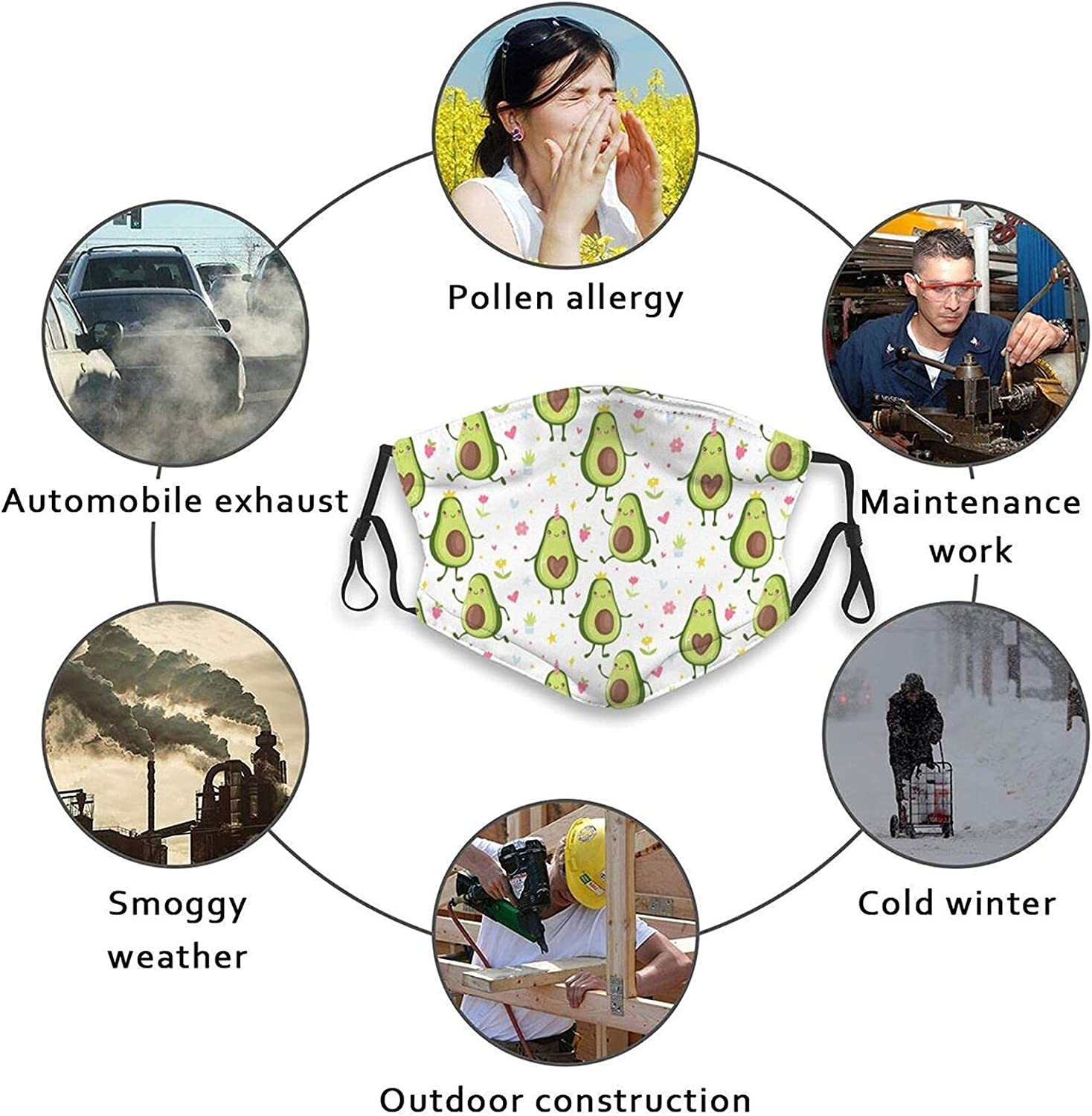 Cute Avocado Pattern Face Mask Reusable Washable Balaclava Bandanas for Women Men & Adults with 2 Filters