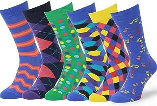 Easton Marlowe 6 Pack Colorful Cotton Fun Bright Patterned Socks, European Made, Men's Women's