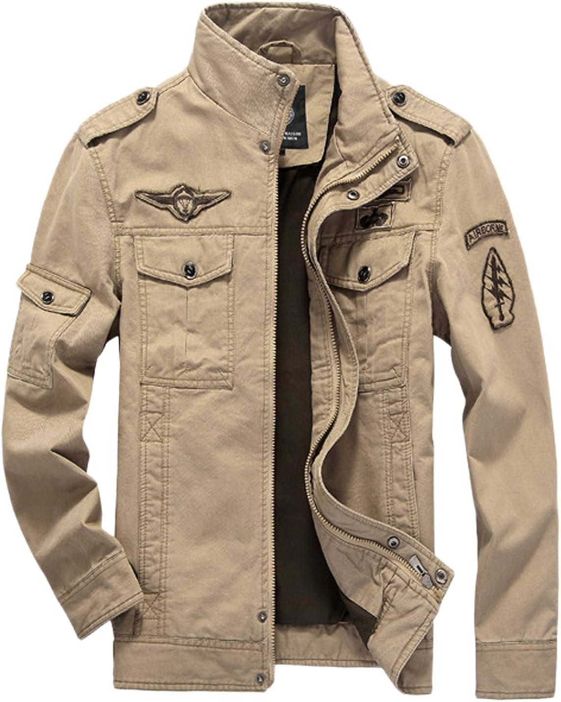 Springrain Men's Casual In stock Slim Stand Military Ranking TOP3 Bomber T Collar Coat