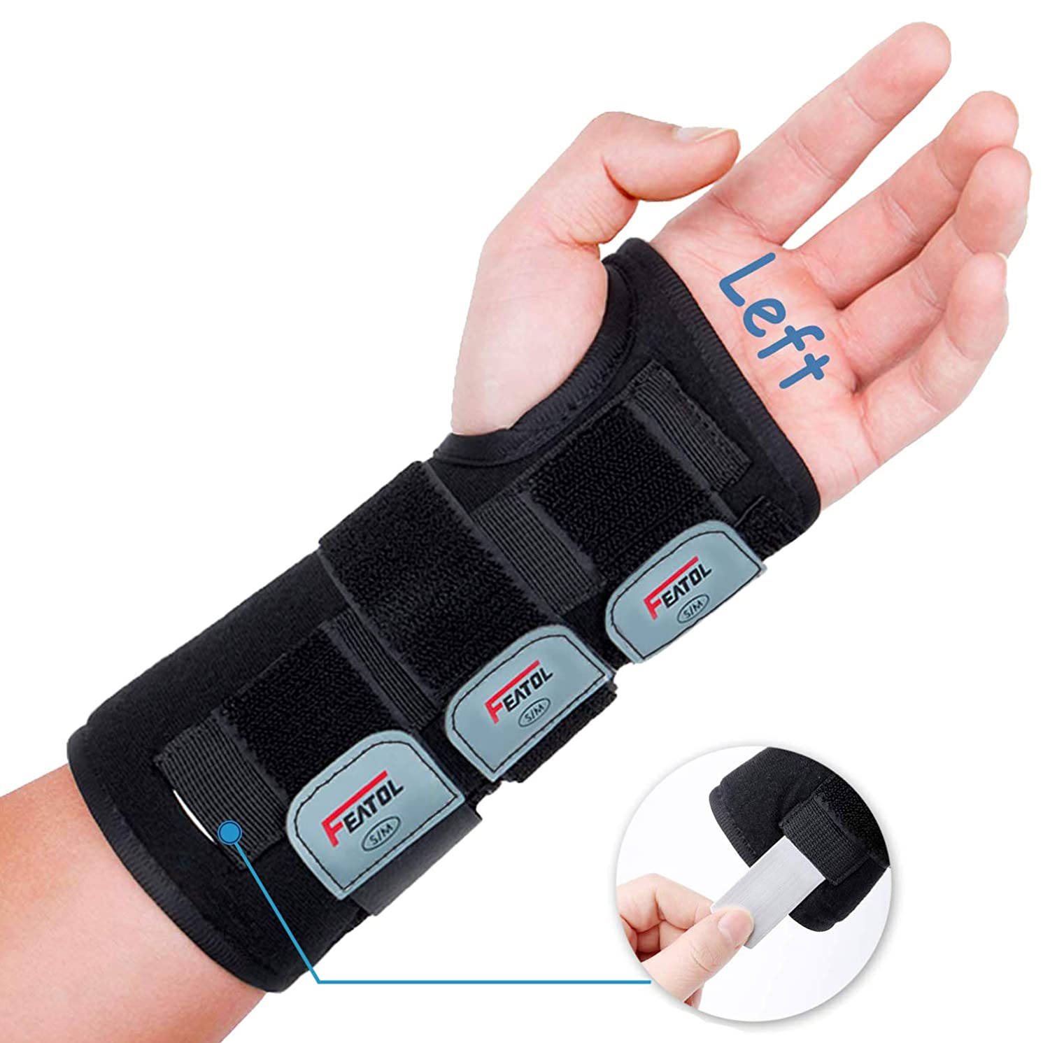 Featol Adjustable Wrist Support Brace with Splints, Left Hand,Small/Medium,for Carpal Tunnel,Injuries,Wrist Pain, Sprain