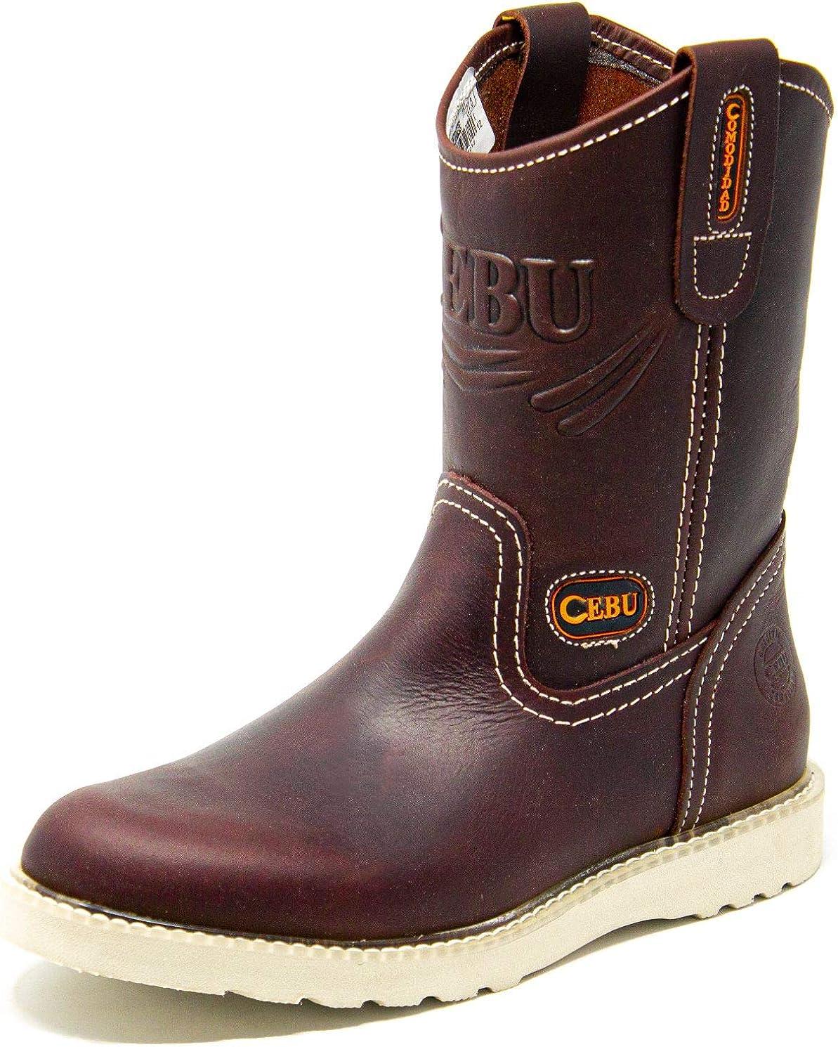 CEBU Soft Toe Work Boots for Men, Comfortable Ultra Lightweight, Wedge Sole, 10