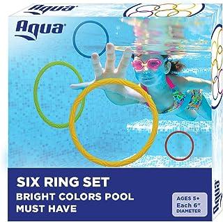 Aqua Classic Dive Rings, 6 Pack, Pool Toys for Kids, Toddlers, Teens, Pool Game, EZ Grab..