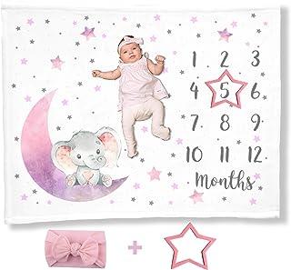 Elephant Baby Milestone Blanket Girl, Purple Gray Name Luna Month Blankets, Photo Props Newborn Photography, I Love You to...