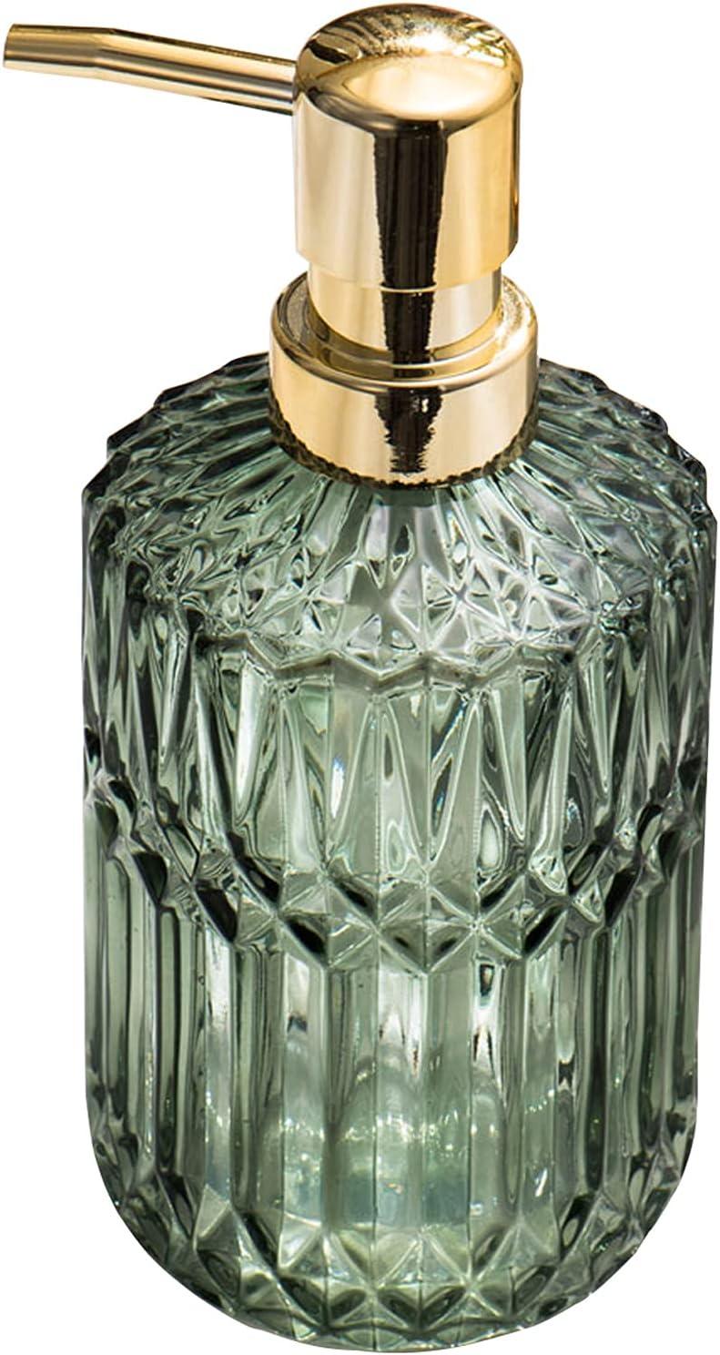DSJGVN Glass Soap Max 43% OFF Dispenser Lotion Dispensers 390ml Refil Clear 100% quality warranty