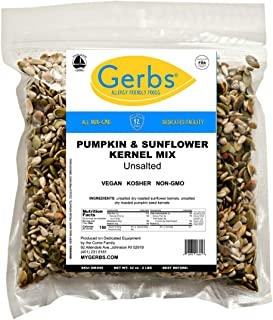 Unsalted Pumpkin & Sunflower Seed Mix, 2 LBS By Gerbs - Top 14 Food Allergy Free & NON GMO - Vegan & Kosher - Premium Dry Roasted Seeds Produced in Rhode Island
