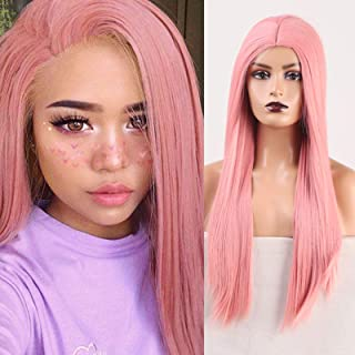 RDY Silky Straight Wig Pink Color Synthetic Wigs for Women Heat Friendly Fiber Hair Replacement Wig Natural Looking Full M...