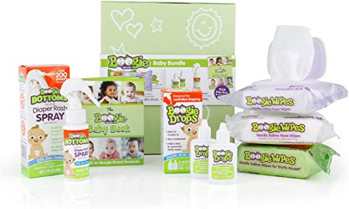 Baby Gift Set by Boogie Wipes, Baby Wipes by Boogie Wipes 120 Count, Diaper Rash Cream Spray by Boogie Bottoms 1 Pack...