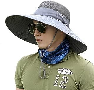 Men Fishing Hiking Hat, Unisex Lawn Gardening Wide Brim Bucket Hats, Cowboy Sun Protection Cap Foldable UPF 50+