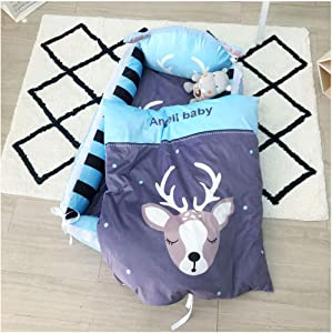 TSWCBYY Baby Bed  Portable Compartment  Bedroom Crib Removable  Cotton Breathable 80 50CM  Bed Quilt Pillow