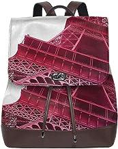 SGSKJ Mochila De Cuero Mujer Bolso Torre Eiffel París Francia 8 Estudiante Casual Bolsa La Universidad Bolsa De Viaje De Cuero Mochila Mujer