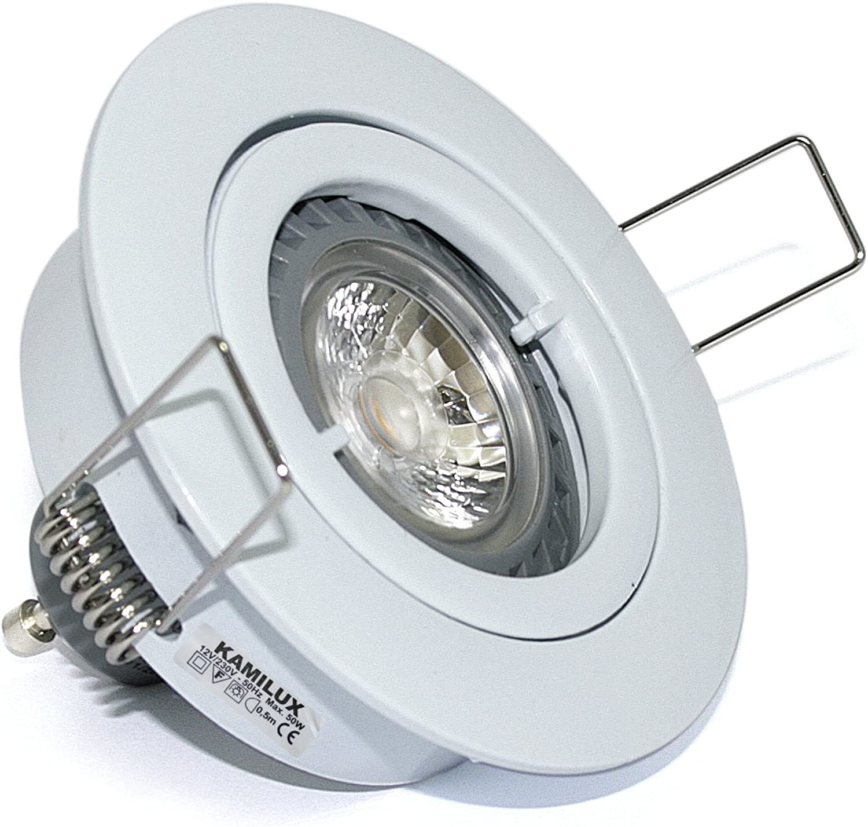 4X LED Einbaustrahler Lino 230Volt 5Watt GU10 Power LED. Deckenspots Farbe weiss- Lichtfarbe  Warmwei 3000K. 5W= 50Watt