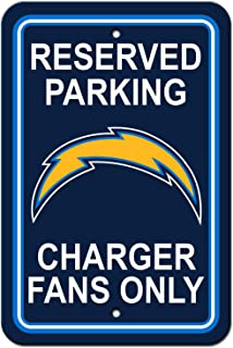 BSI NFL Los Angeles Chargers Plastic Parking Sign - Reserved Parking, One Size, Multicolor