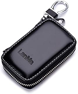 LanMa Car Key Case Holder Leather Car Key Chain Bag Car Remote Key fob for car Keychain Zipper Bag - Black