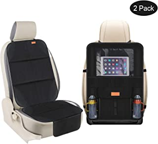 Smart elf Car Seat Protector Set with iPad and Tablet Holder Kick Mat Cover, Universal Stain Resistant Protective Baby Child Car Seat Protectors Rear Back Seat Organizer (2Pack)