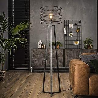 famlights Riccardo Lampadaire en métal antharzite 1 ampoule E27 Design industriel élégant pour salon chambre à coucher Lam...