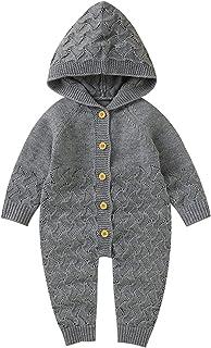 طفل الفتيات الفتيان القطن محبوك مقنع سترة رومبير بذلة تتسابق الرضع الخريف الشتاء الاصطناعية (Color : Gray, Size : 18M)